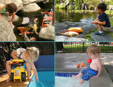 A child is trying to touch the fish, a boy is feeding the fishes, a girl is want to touch the water and a boy is playing beside the swimming pool.
