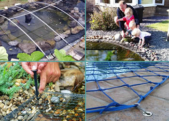 The pond netting is fixed by the supports, tones, plastic staples and anchor.