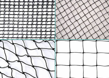 Woven, knitted, knotted and extruded weaving type of pond netting.